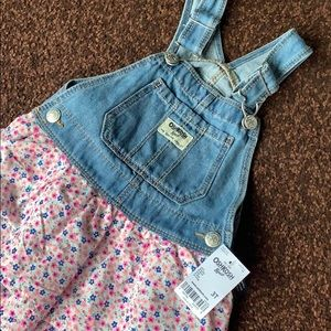 OshKosh B'Gosh 3T Denim Floral Overall Dress NWT